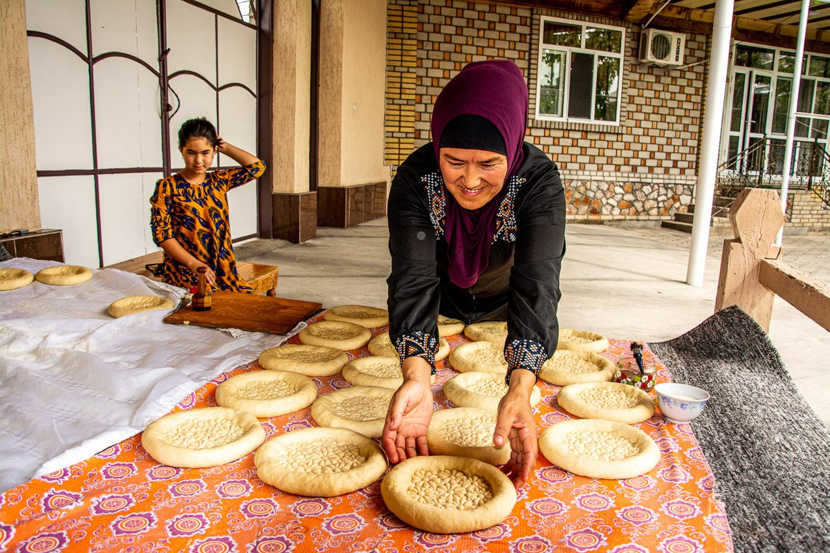 Jalal-Abad City Bread Making Workshop, Making the Circular Bread Loaves - Kyrgyzstan